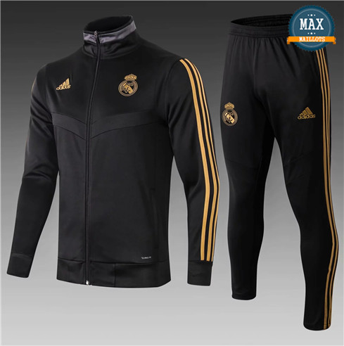 Veste Survetement Real Madrid Enfant 2019/20 Noir Col Haut