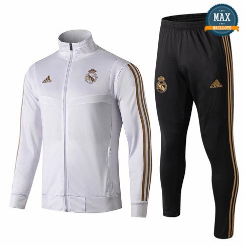 Veste Survetement Real Madrid Enfant 2019/20 Blanc/Noir