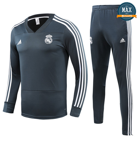 Survetement Enfant Real Madrid 2019/20 Gris/Vert Col V