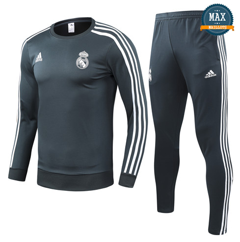 Survetement Enfant Real Madrid 2019/20 Gris/Vert Col Rond