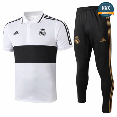 Maillot Polo + Pantalon Real Madrid 2019/20 Training Blanc/Noir