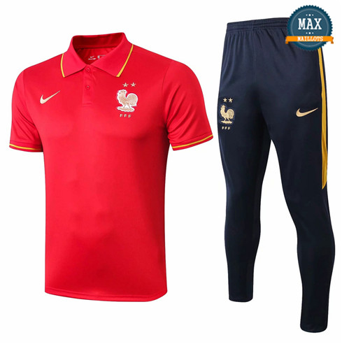 Maillot Polo + Pantalon France Training Rouge/Bleu Marine