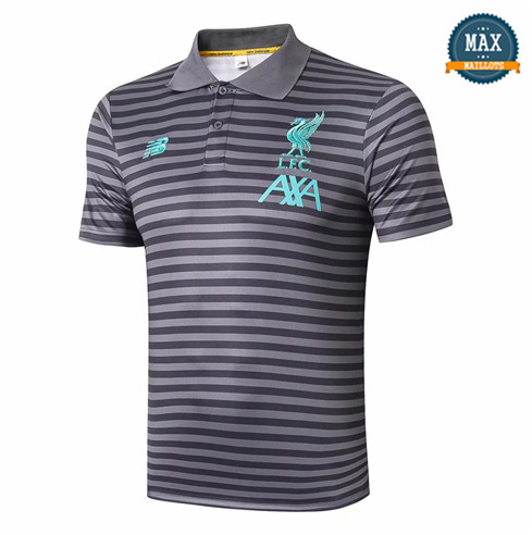 Maillot Polo Liverpool 2019/20 Training Gris bande Noir