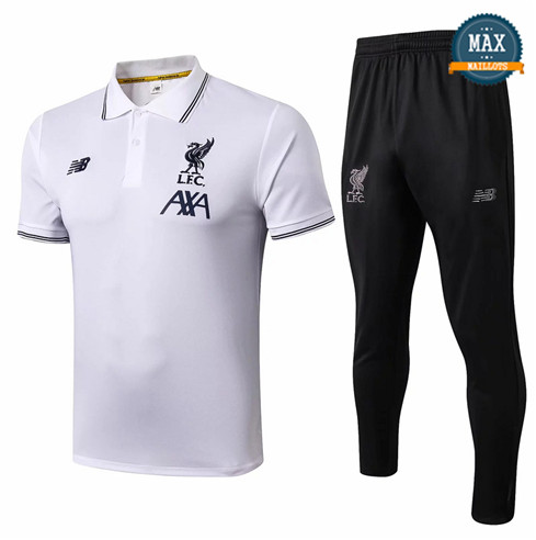 Maillot Polo + Pantalon Liverpool 2019/20 Training Blanc/Noir