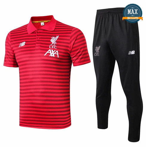 Maillot Polo + Pantalon Liverpool 2019/20 Training Rouge bande Noir