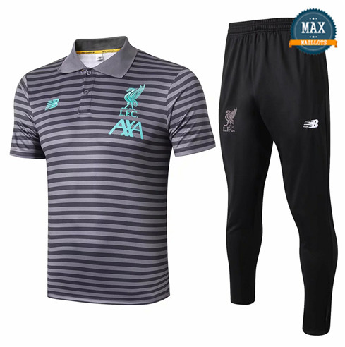 Maillot Polo + Pantalon Liverpool 2019/20 Training Gris bande Noir