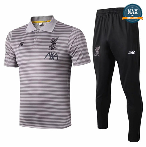 Maillot Polo + Pantalon Liverpool 2019/20 Training bande Gris