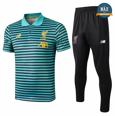 Maillot Polo + Pantalon Liverpool 2019/20 Training Vert bande Noir