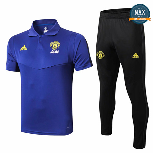 Maillot Polo + Pantalon Manchester United 2019/20 Training Bleu/Noir