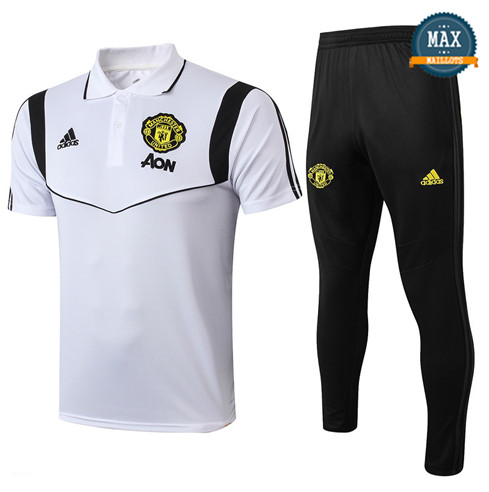 Maillot Polo + Pantalon Manchester United Training Blanc/Noir