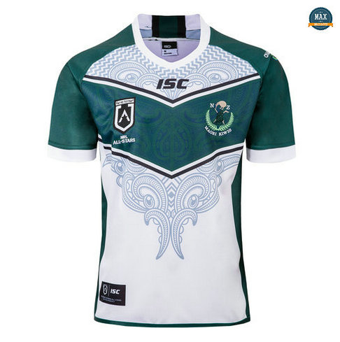 Max Maillot Rugby ISC Nouvelle Zélande Maori All Stars 2019/20 Vert/Blanc